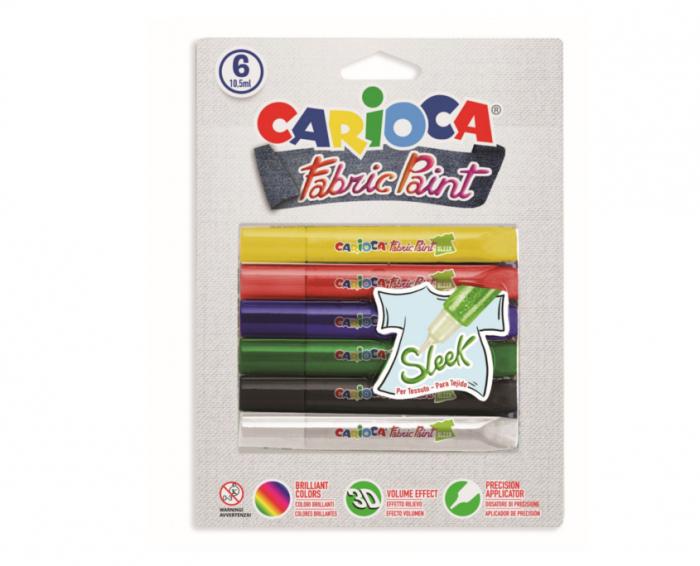 Vopsea pentru textile, rezistanta la spalare, 6 culori/blister, CARIOCA Fabric Paint - Sleek [0]