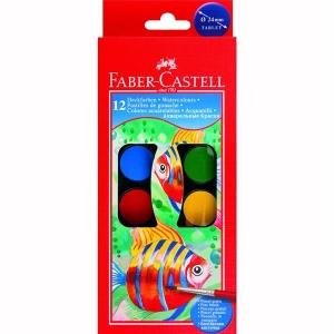 Acuarele 12 culori Pensula Faber-Castell - pastila de 30 mm2