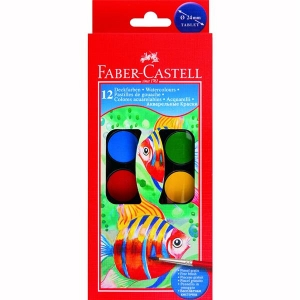 Acuarele Pensula Faber-Castell - 12 culori , pastila de 24 mm1