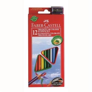 Creioane Colorate Triunghiulare cu Ascutitoare Eco Faber-Castell - 24 culori/set1