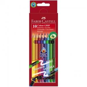 Creioane Colorate Grip 2001 Faber-Castell- 10 Culori Cu Guma 2