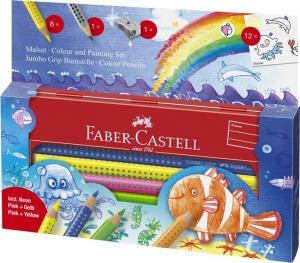 Set Cadou 8 Culori si Accesorii Jumbo Grip Ocean Faber-Castell0