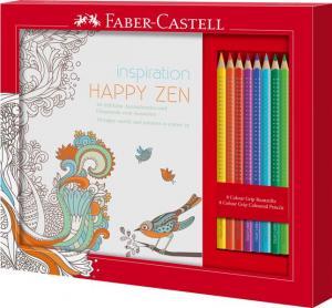 Set Cadou Happy Zen 8 Creioane Colorate Grip + Carte Colorat Faber-Castell0