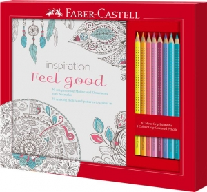 Set Cadou Feel Good 8 Creioane Colorate Grip + Carte Colorat Faber-Castell1
