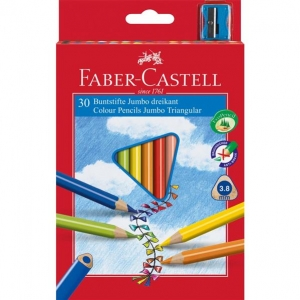 Creioane Colorate Jumbo + Ascutitoare Faber-Castell - 10 culori / cutie carton1