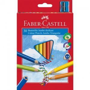 Creioane Colorate Jumbo + Ascutitoare Faber-Castell - 10 culori / cutie carton0