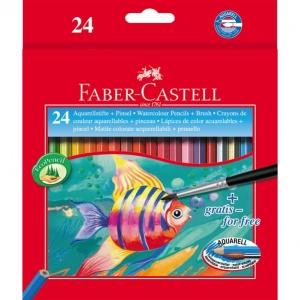 Creioane Colorate Acuarela Faber-Castell - 24 Buc si Pensula1