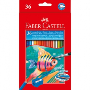 Creioane Colorate Acuarela Faber-Castell - 36 Buc si Pensula1
