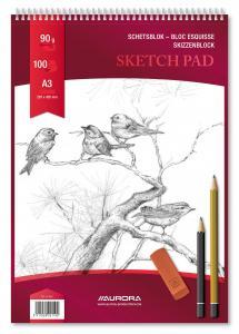 Bloc desen cu spirala, A3, 100 file - 90g/mp, pentru schite creion, AURORA Esquisse2