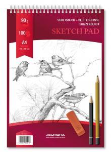 Bloc desen cu spirala, A4, 100 file - 90g/mp, pentru schite creion, AURORA Esquisse2