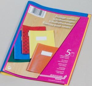 Coperta PP - 120 microni, cu eticheta, pentru caiet A5, 5 buc/set, AURORA - culori asortate1