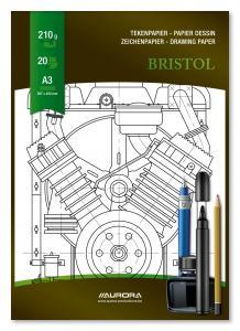 Bloc desen A3, 20 file - 210g/mp, pentru schite creion/marker, AURORA Bristol2