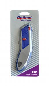 Cutter profesional Optima, lama trapezoidala + 5 rezerve SK5, cu auto-incarcare, zinc cu rubber grip [0]