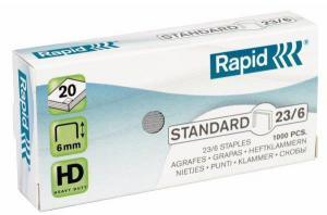Capse RAPID Standard 23/ 6, 1000 buc/cutie - pentru 2-20 coli2