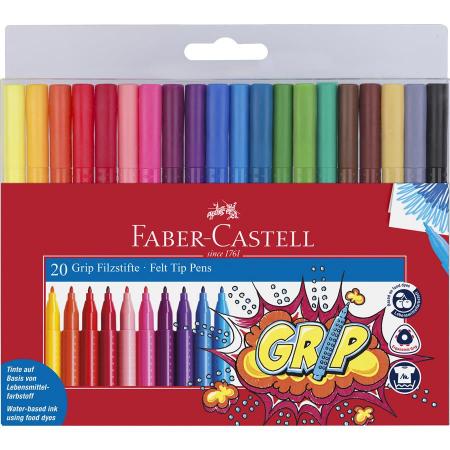 Carioca Grip Faber-Castell, 20 culori in etui plastic0