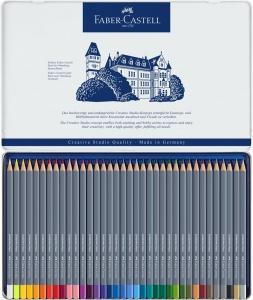 Creioane colorate Aqua, 36 culori / set, GOLDFABER  Faber-Castell - cutie metalica1