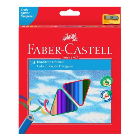 Creioane Colorate Triunghiulare 36 culori cu Ascutitoare Eco Faber-Castell 0