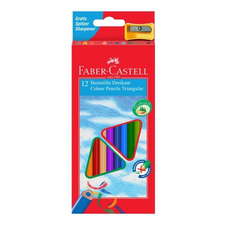 Creioane Colorate Triunghiulare 36 culori cu Ascutitoare Eco Faber-Castell 1