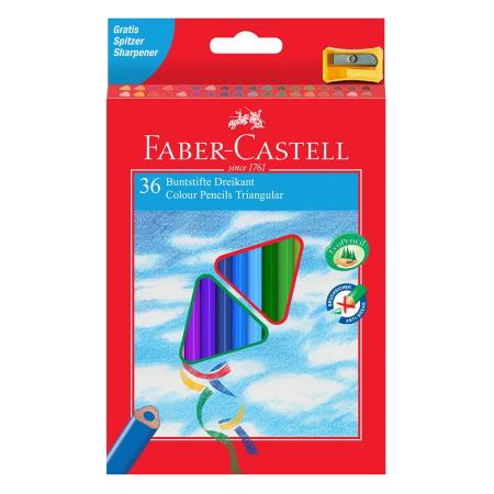 Creioane Colorate Triunghiulare 36 culori cu Ascutitoare Eco Faber-Castell 2