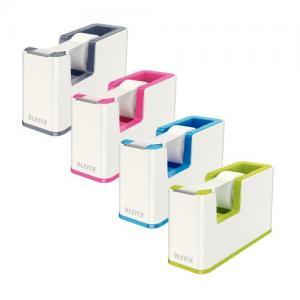 Dispenser cu banda adeziva inclusa LEITZ Wow, culori duale - roz metalizat/alb1