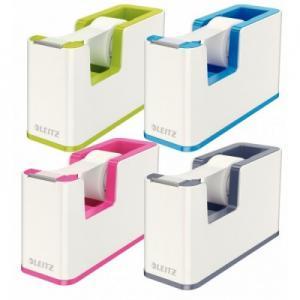 Dispenser cu banda adeziva inclusa LEITZ Wow, culori duale - verde metalizat/alb1