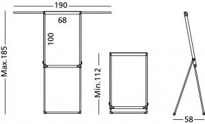 Flipchart magnetic, 100x68cm, reglabil pe inaltime, cu brate laterale retractabile, SMIT Shift6
