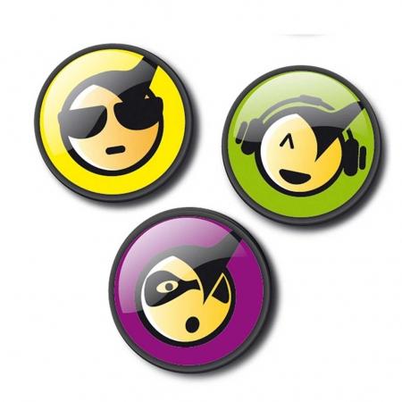 Insigne, 3buc/set, Roller NIKIDOM - Emoticonos Cool0