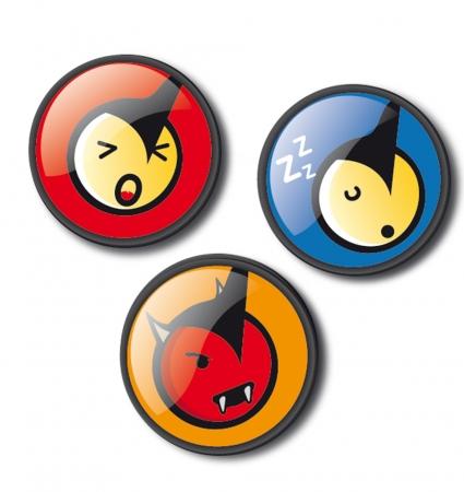 Insigne, 3buc/set, Roller NIKIDOM - Emoticonos Fun1