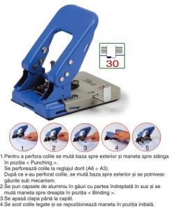 Perforator metalic 2 gauri + aplicator capse, 30 coli, TURIKAN BP-011