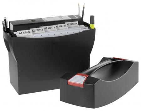 Suport plastic pentru 20 dosare suspendabile, cu capac, HAN Swing Plus - negru0