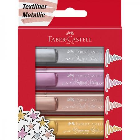 Textmarker Set 4 Buc Metalizate Faber-Castell1