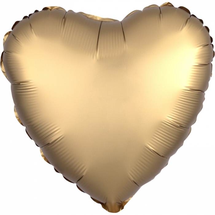 Balon Folie Inima, Satinat, Auriu - 43 cm [0]