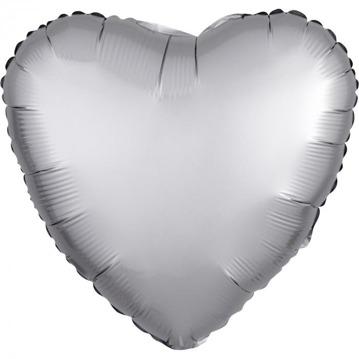 Balon Folie Inima, Satinat, Argintiu - 43 cm [0]