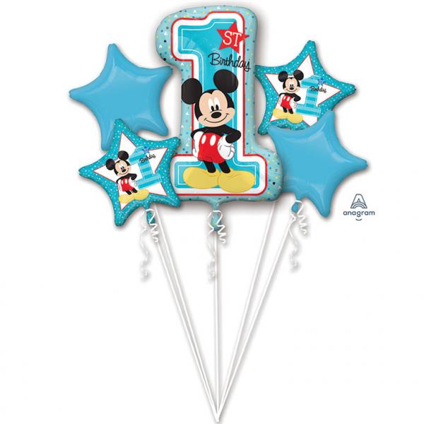 Buchet 5 Baloane Mickey Mouse, Prima Aniversare [0]
