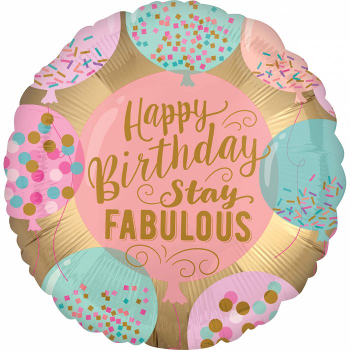 Balon Folie Happy Birthday Roz - 45 cm 0