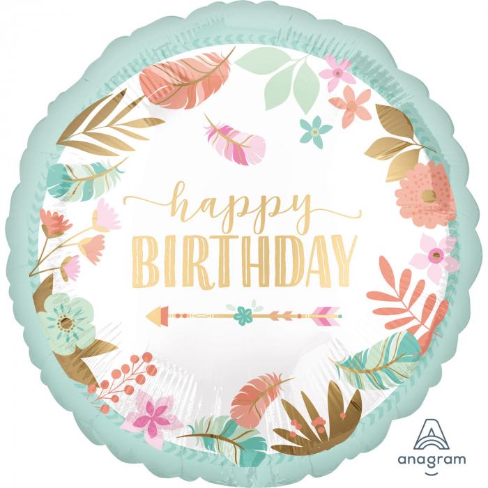 Balon Folie Happy Birthday Satinat - 45 cm [0]