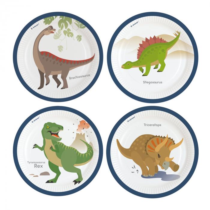 Set 8 Farfurii Dinozaur, 22.8 cm [0]