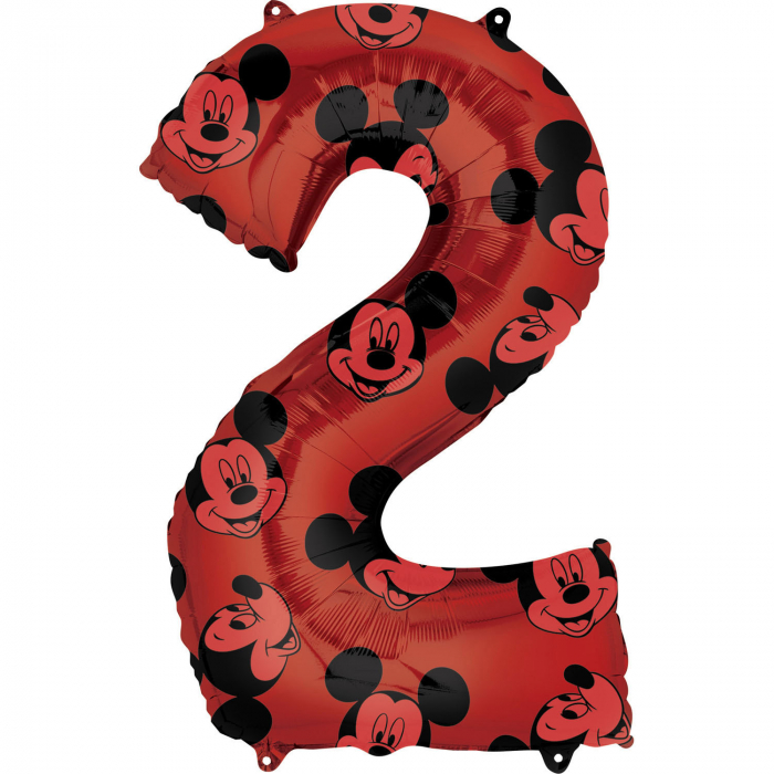 Balon Folie Cifra 2 Rosu, Mickey Mouse Forever - 66 cm 0