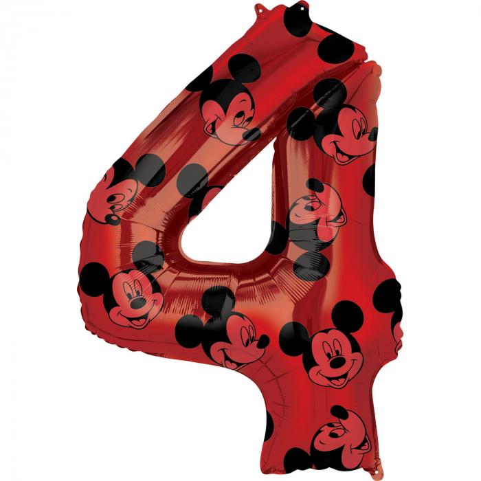 Balon Folie Cifra 4 Rosu, Mickey Mouse Forever - 66 cm [0]
