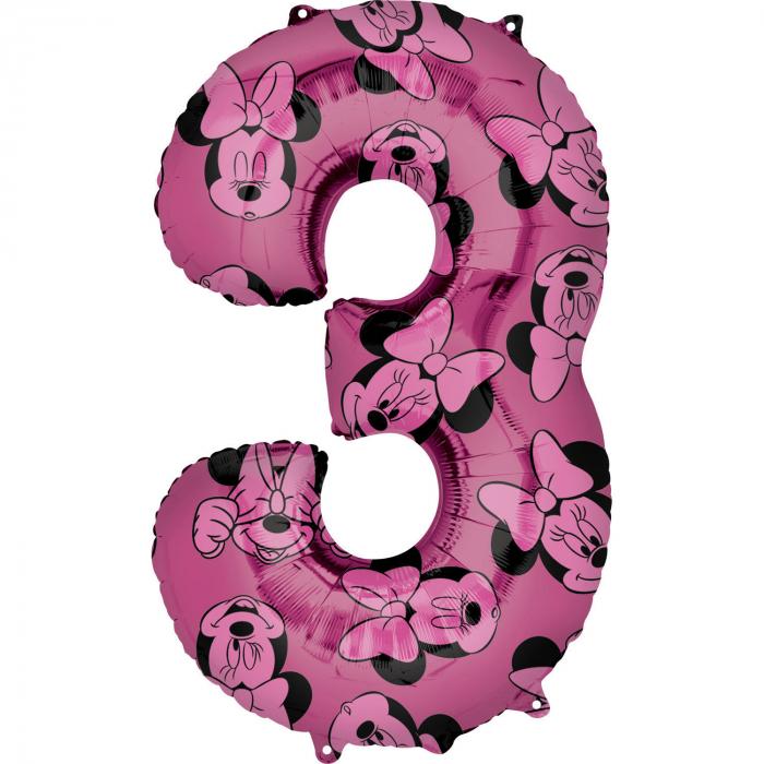 Balon Folie Cifra 3 Roz, Minnie Mouse Forever - 66 cm [0]