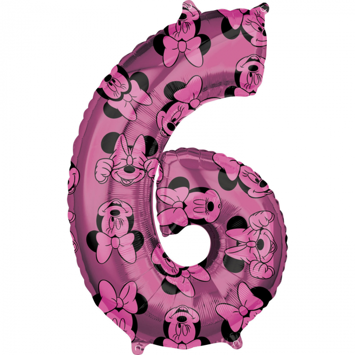 Balon Folie Cifra 6 Roz, Minnie Mouse Forever - 66 cm 0