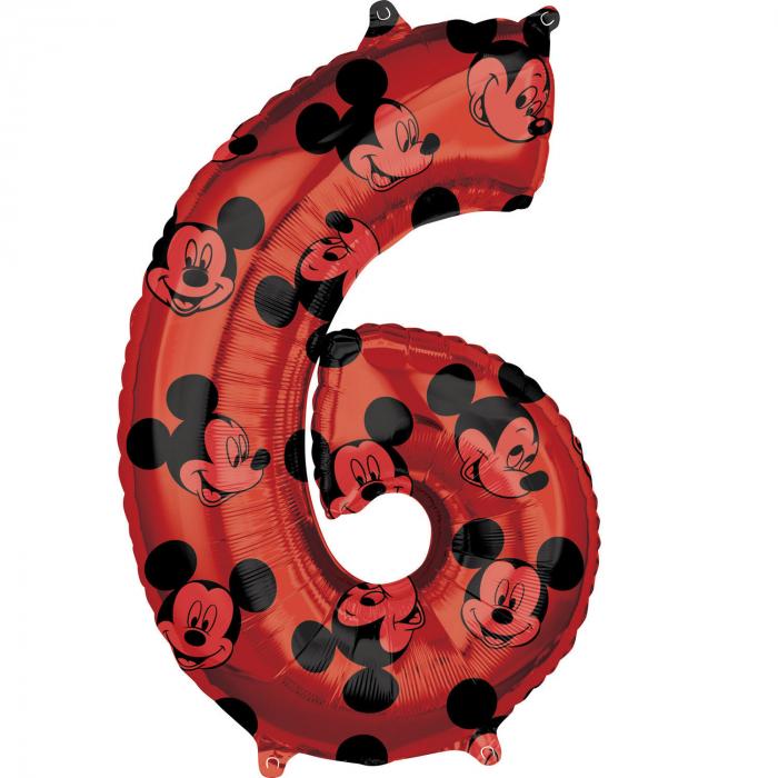 Balon Folie Cifra 6 Rosu, Mickey Mouse Forever - 66 cm [0]