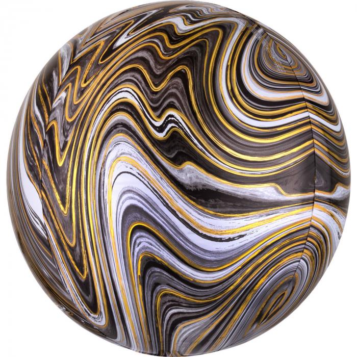 Balon Folie Marble, Negru - 41 cm [0]