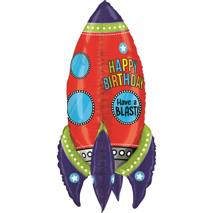 Balon Folie Racheta Happy Birthday - 91 cm [0]
