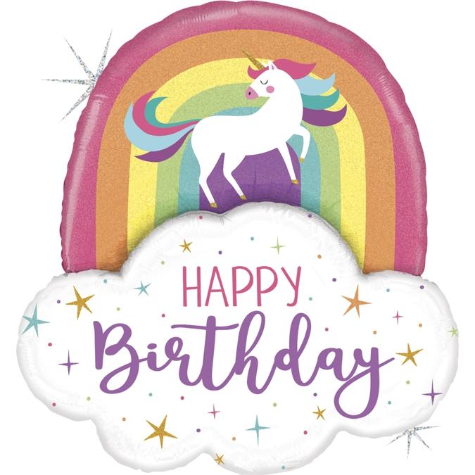 Balon Folie Unicorn Rainbow Birthday - 89 cm 0