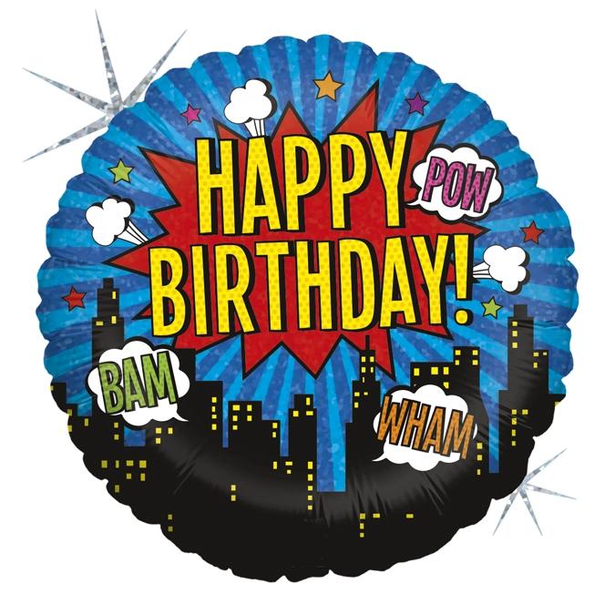 Balon Folie Hero Happy Birthday - 46 cm 0