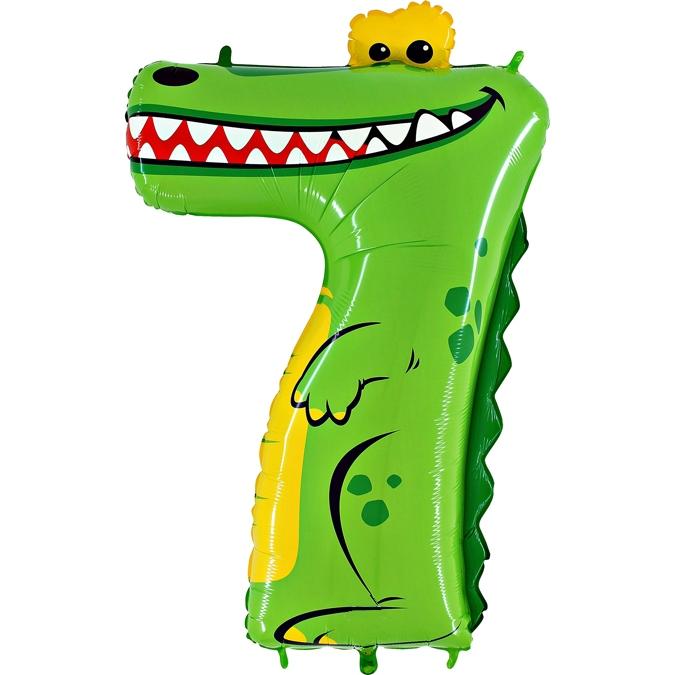 Balon Folie Cifra 7 Crocodil, 102 cm 0