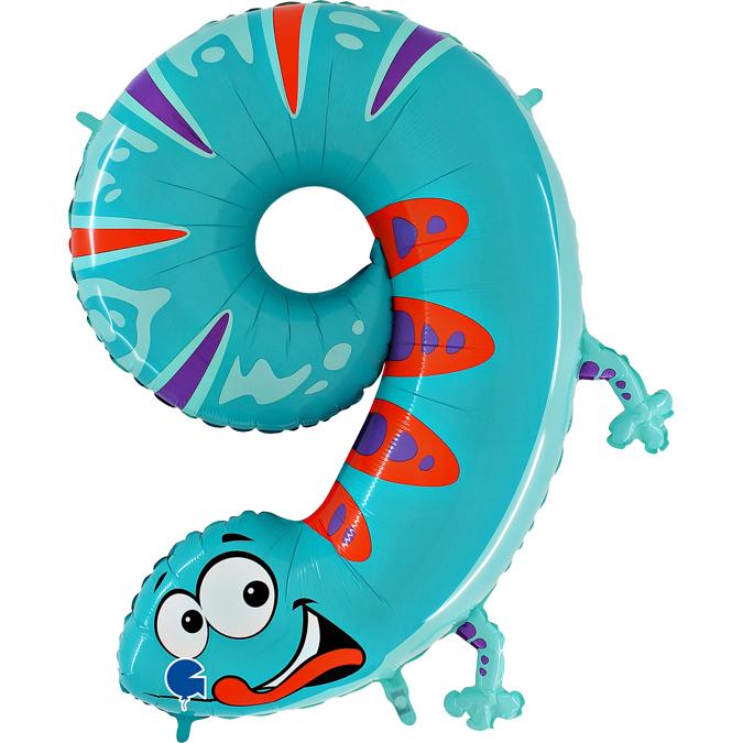 Balon Folie Cifra 9 Gecko, 102 cm 0