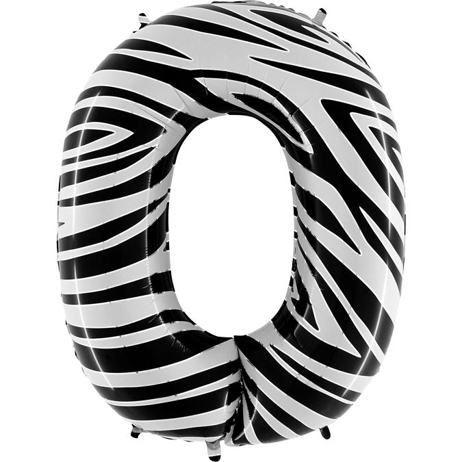 Balon Folie Cifra 0 Zebra, 102 cm [0]