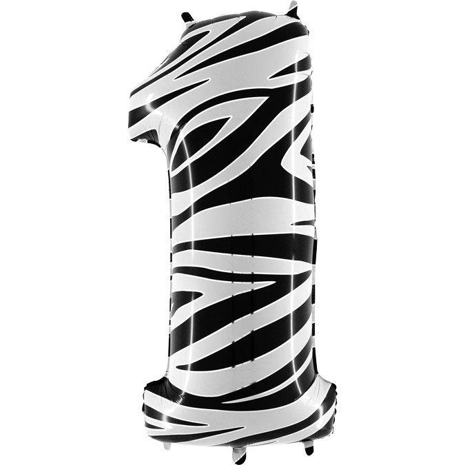 Balon Folie Cifra 1 Zebra, 102 cm 0